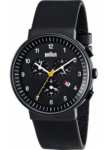 BN0035, Braun, Classic Chrono PVD 40mm, Black Dial, Leather Strap