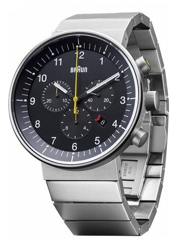 BN0095, Braun, Prestige Chrono 43mm, Black Dial, Stainless Steel Bracelet