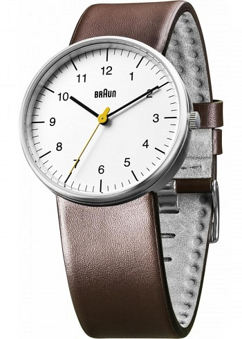 BN0021, Braun, Classic 38mm, White Dial, Leather Strap Brown