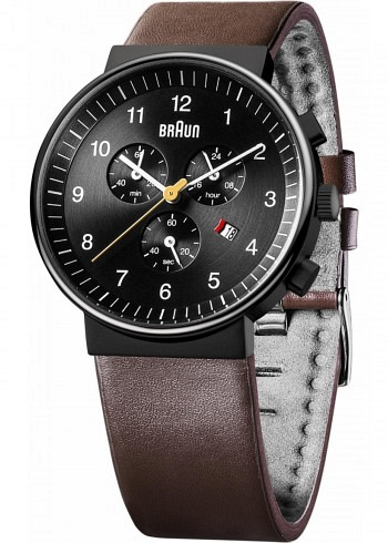 BN0035, Braun, Classic Chrono PVD 40mm, Black Dial, Leather Strap Brown