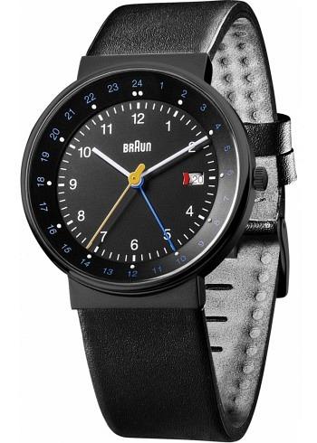 BN0142, Braun, Classic PVD 40mm, GMT, Black Dial, Leather Strap Black