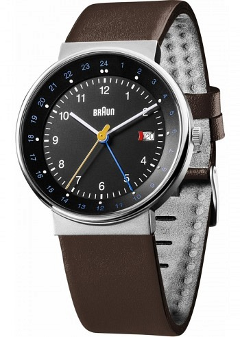 BN0142, Braun, Classic 40mm, GMT, Black Dial, Leather Strap Brown