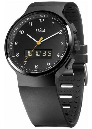 BN0159, Braun, Classic PVD 44mm, Chrono-GMT-Alarm, Black Dial, Rubber Strap
