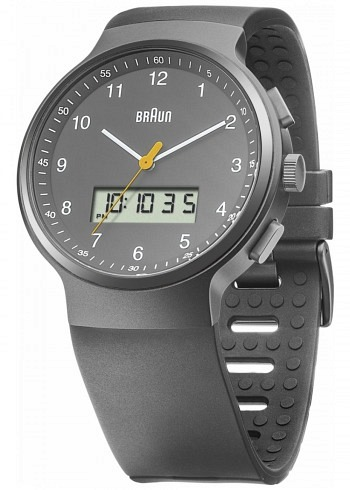 BN0159, Braun, Classic PVD 44mm, Chrono-GMT-Alarm, Grey Dial, Rubber Strap