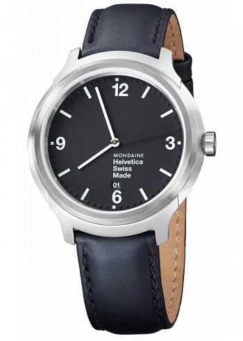 MH1.B1220.LB, Mondaine, Helvetica No1 Bold 43mm, Black Dial, Black Leather Strap