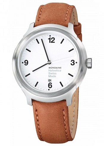 MH1.B1210.LG, Mondaine, Helvetica No1 Bold 43mm, White Dial, Brown Leather Strap