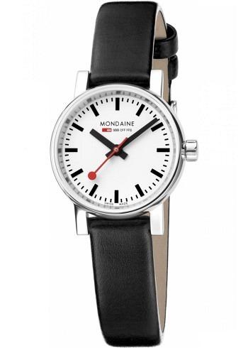 MSE.26110.LB, Mondaine, EVO2 Petite 26mm, White Dial, Black Leather Strap
