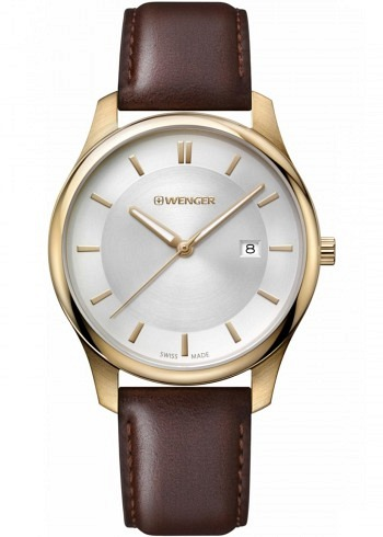 01.1441.107, Wenger, City Classic 43mm, PVD Rosegold, Silver Dial, Leather Strap brown
