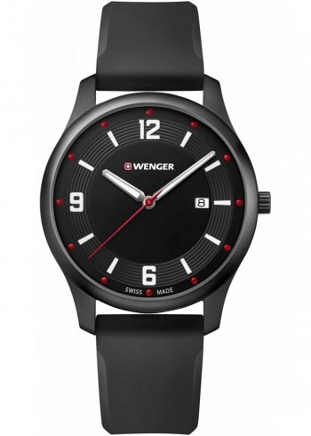 01.1441.111, Wenger, City Active 43mm, PVD, Black Dial, Silicone Strap
