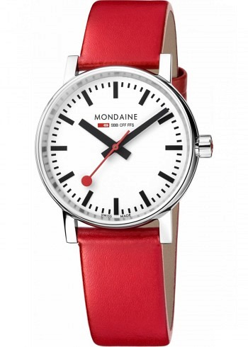MSE.35110.LC, Mondaine, EVO2 35mm, White Dial, Red Leather Strap