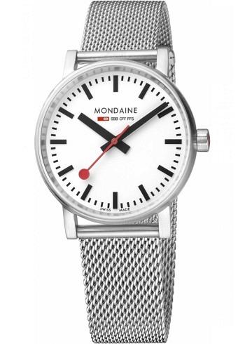 MSE.35110.SM, Mondaine, EVO2 35mm, White Dial, Stainless Steel Bracelet