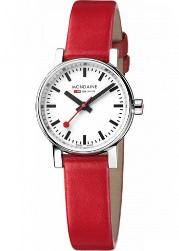 MSE.26110.LC, Mondaine, EVO2 Petite 26mm, White Dial, Red Leather Strap
