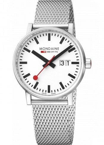 MSE.40210.SM, Mondaine, EVO2 Big 40mm, White Dial, Stainless Steel Bracelet