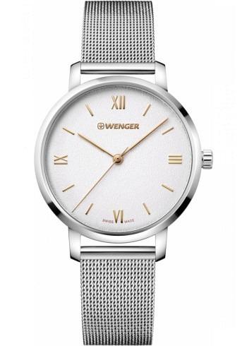 01.1731.104, Wenger, Metropolitan Donnissima 38mm, Sandwhite Dial, Stainless Steel Bracelet