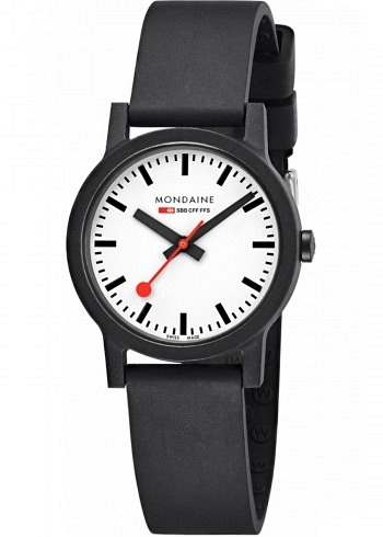 MS1.32110.RB, Mondaine, Classic Essence 32mm (eco-friendly), White Dial, Natural Rubber Strap