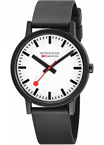 MS1.41110.RB, Mondaine, Classic Essence 41mm (eco-friendly), White Dial, Natural Rubber Strap
