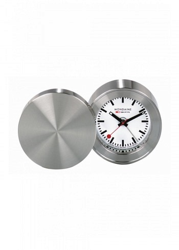 MSM.64410, Mondaine, Alarm Clock 50mm, White Dial, Stainless Steel Housing
