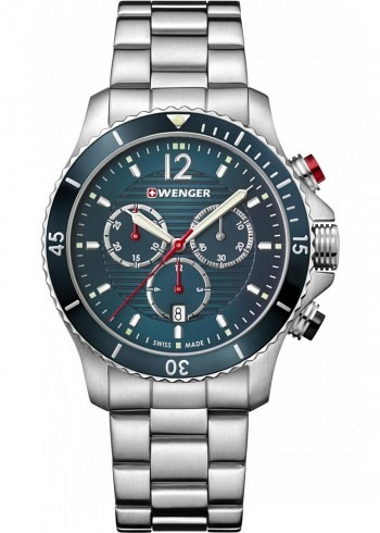 01.0643.115, Wenger, Seaforce Chrono 43mm, Petrol Dial, Stainless Steel Strap