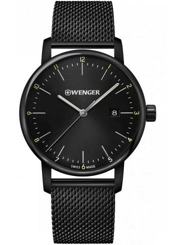 01.1741.137, Wenger, Urban Classic 42mm, PVD, Black Dial, Stainless Steel Bracelet