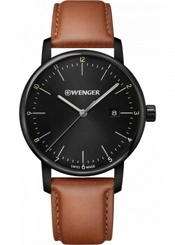 01.1741.136, Wenger, Urban Classic 42mm, PVD, Black Dial, Leather Strap Brown