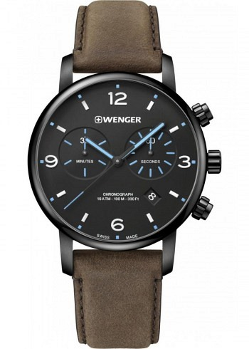 01.1743.112, Wenger, Urban Classic Metropolitan Chrono 44mm, PVD, Black Dial, Leather Strap Brown