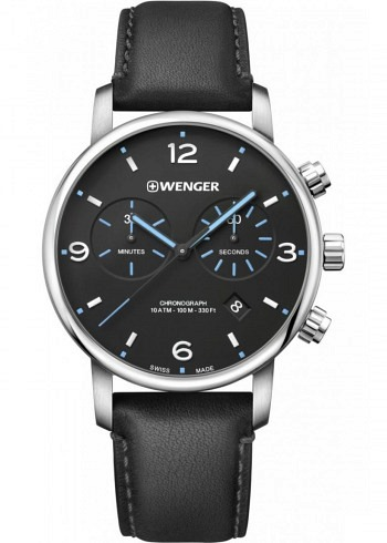 01.1743.120, Wenger, Urban Classic Metropolitan Chrono 44mm, Black Dial, Leather Strap Black