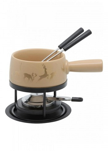 "100035, Kadastar, cheese fondue set small ""Hirsch Gold"", 5 pieces, 0.7 Liter"