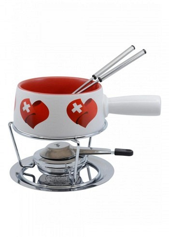 "100019, Kadastar, cheese fondue set small ""Swiss Love"", 5 pieces. 0.7 Liter"