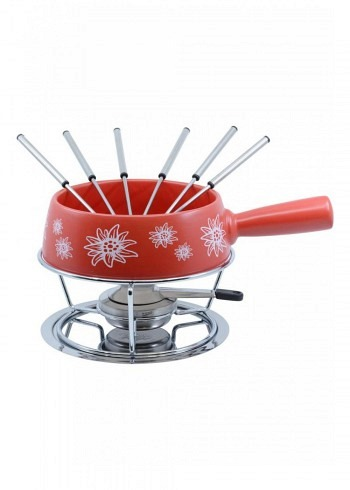 "100033, Kadastar, cheese fondue set medium ""Edelweiss Rot"", 9 pieces, 1.4 Liter"