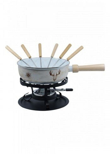 "100034, Kadastar, cheese fondue set enamel regular ""Hirsch Retro"", 9 pieces, 1.7 Liter"