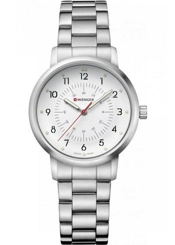 01.1621.110, Wenger, Avenue 35mm, White Dial, Stainless Steel Bracelet