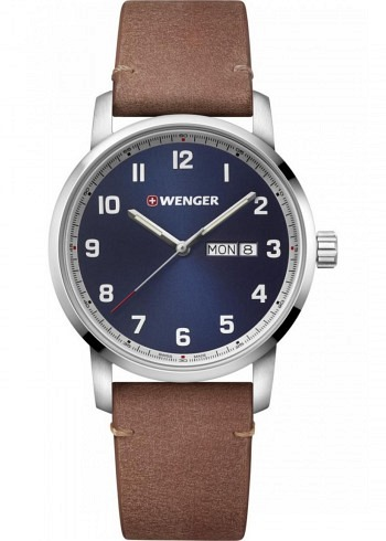 01.1541.114, Wenger, Attitude 42mm, Darkblue Dial, Leather Strap