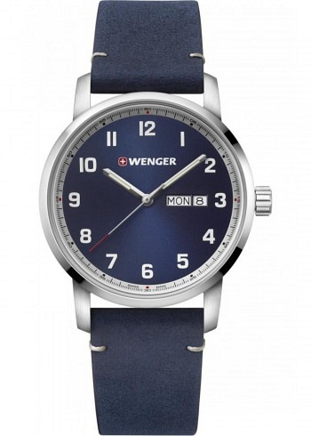 01.1541.115, Wenger, Attitude 42mm, Darkblue Dial, Leather Strap