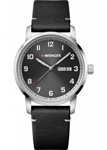 01.1541.116, Wenger, Attitude 42mm, Black Dial, Leather Strap