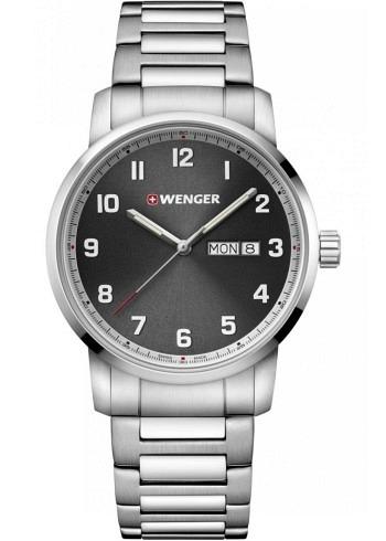 01.1541.119, Wenger, Attitude 42mm, Black Dial, Stainless Steel Bracelet