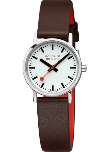 A658.30323.11SBG, Mondaine, Classic 30mm, White Dial, Leather Strap