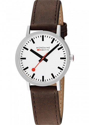 A660.30360.11SBG, Mondaine, Classic 40mm, White Dial, Leather Strap