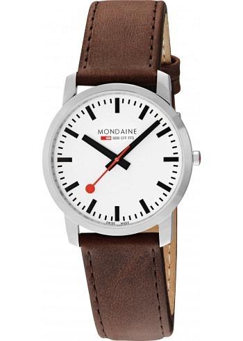 A638.30350.11SBG, Mondaine, Simply Elegant 41mm, White Dial, Brown Leather Strap