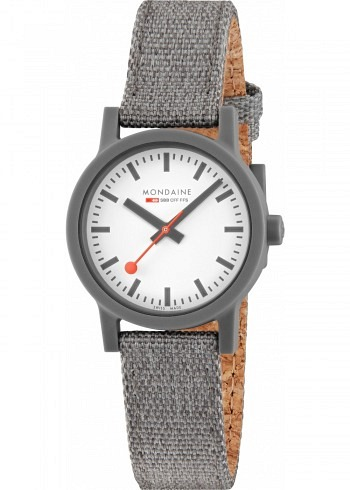 MS1.32110.LU, Mondaine, Essence Shades of Grey 32mm (eco-friendly), White Dial, Textile Strap with Cork