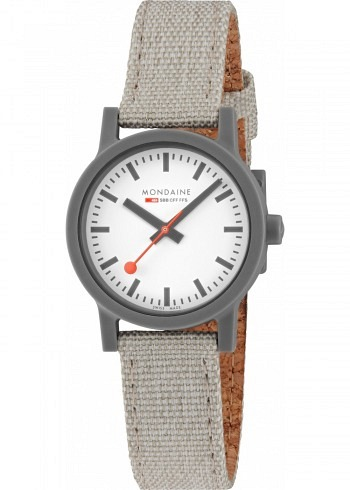 MS1.32111.LH, Mondaine, Essence Shades of Grey 32mm (eco-friendly), White Dial, Textile Strap with Cork