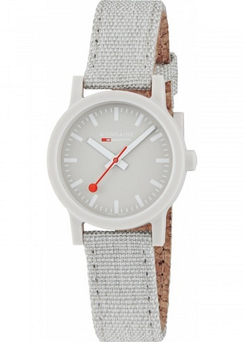 MS1.32170.LK, Mondaine, Essence Shades of Grey 32mm (eco-friendly), Grey Dial, Textile Strap with Cork