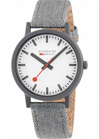 MS1.41110.LU, Mondaine, Essence Shades of Grey 41mm (eco-friendly), White Dial, Textile Strap with Cork