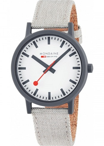 MS1.41111.LH, Mondaine, Essence Shades of Grey 41mm (eco-friendly), White Dial, Textile Strap with Cork