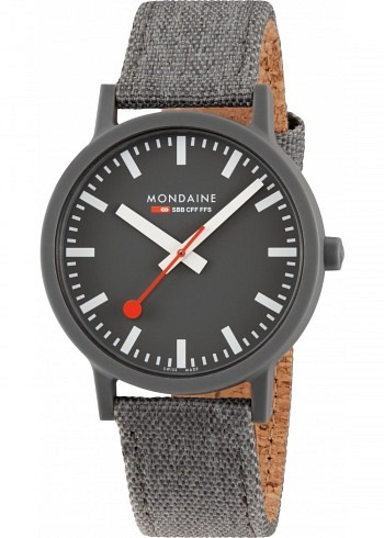 MS1.41180.LH, Mondaine, Essence Shades of Grey 41mm (eco-friendly), Black Dial, Textile Strap with Cork